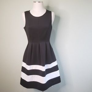 Apt. 9 Black & White Fit and Flare Dress G4
